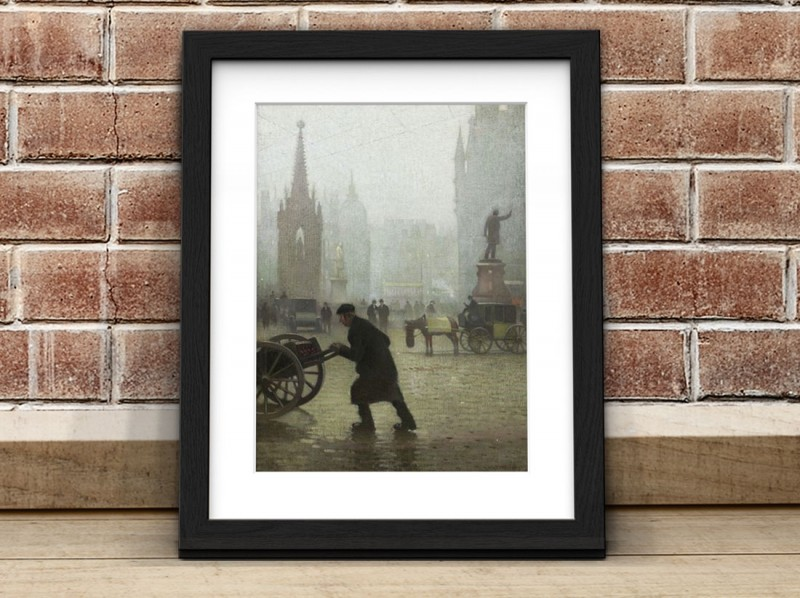 A framed print of 'Albert Square, Manchester' by Adolphe Valette (1876–1942)